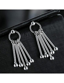 Sweet Silver Color Round Ball Pendant Decorared Tassel Design Pure Color Earrings