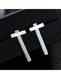 Sweet Silver Color Cross Shape Decorated Pure Color Simple Earrings