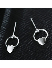 Sweet Silver Color Hollow Out Round Shape &heart Decorated Pure Color Earrings