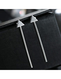 Sweet Silver Color Triangle Shape Decorated Pure Color Design Simple Earrings