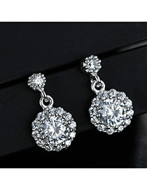 Sweet Silver Color Diamond Decorated Round Shape Design Simple Earrings