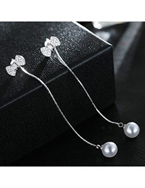 Sweet Silver Color+white Bowknot&pearls Decorated Tassel Design Simple Earrings