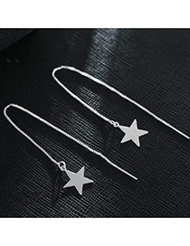 Sweet Silver Color Star Pendant Decorated Pure Color Design Earrings