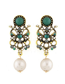 Fashion Green+white Pearls&diamond Decorated Hollow Out Design Simple Earrings