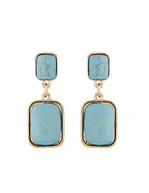 Fashion Blue Square Shape Gemstone Pendant Decorated Simple Earrings