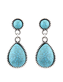 Fashion Blue Water Drop Shape Gemstone Pendant Decorated Simple Earrings