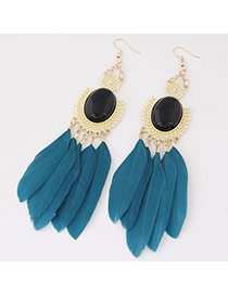 Fashion Dark Blue Feather Pendant Decorated Simple Earrings
