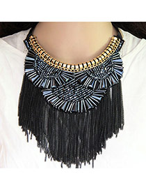 Fashion Gun Black Matal Tassel Decorated Short Chain Necklace