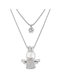 Fashion Silver Color Angel Shape Pendant Decorated Double Layer Design Necklace