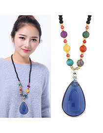 Lovely Multi-color Oval Shape Pandent Decorated Simple Sweater Necklace