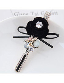 Fashion Black Flower Shape&round Diamond Decorated Simple Hairpin