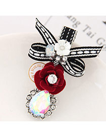 Elegant Red Flower Shape&oval Shape Decorated Simple Hairpin