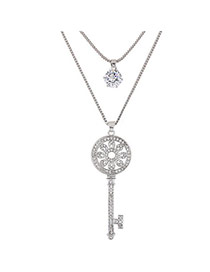 Sweet Silver Color Diamond&key Shape Pendant Decorated Double Layer Necklace