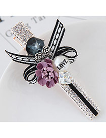 Cute Light Purple Flower&pearl Shape Decorated Simple Clip