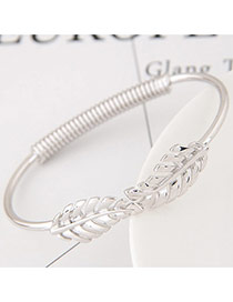 Fashion Silver Color Hollow Out Leaf Decorated Pure Color Simple Bracelet