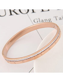 Fashion White+gold Color Round Shape Diamond Decorated Color Matching Bracelet
