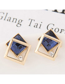 Sweet Dark Blue Hollow Out Double Square Decorated Simple Earring