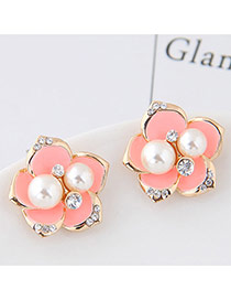 Sweet Pink Pearl&diamond Decorated Flowe Shape Earring