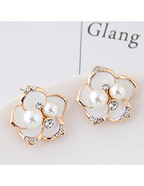 Sweet White Pearl&diamond Decorated Flowe Shape Earring