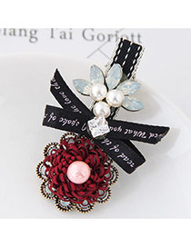 Sweet Red+black Bowknot&flower Shape Decorated Simple Hairpin