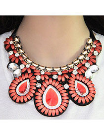 Bohemia Orange Oval Shape Pendant Decorated Short Chain Necklace