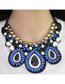 Bohemia Blue Oval Shape Pendant Decorated Short Chain Necklace