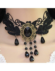 Vintage Black Oval Shape Pendant Decorated Hollow Out Choker