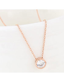 Fashion Gold Color Round Shape Diamond Decorated Simple Long Chain Necklace