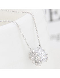 Fashion Silver Color Square Shape Diamond Decorated Simple Long Chain Necklace