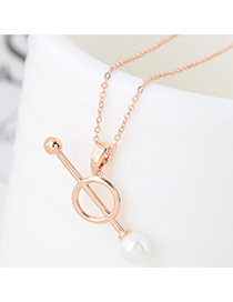 Fashion Gold Color Pure Color Design Long Chian Decorated Simple Neckalce