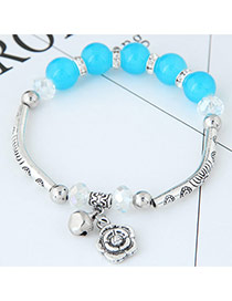 Bohemia Light Blue Metal Rose Pendant Decorated Simple Bracelet