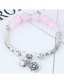 Bohemia Pink Metal Rose Pendant Decorated Simple Bracelet
