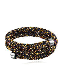 Personality Gold Color+black Metal Round Decorated Pure Color Simple Bracelet