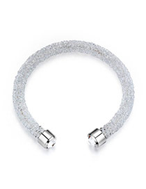 Personality White Metal Round Decorated Pure Color Simple Bracelet