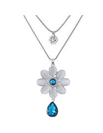 Sweet Blue Waterdrop&flower Shape Pendant Decorated Double Layer Necklace