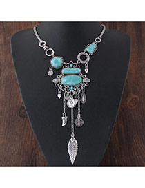 Exaggerated Silver Color Leaf&gemstone Decorated Tassel Short Chain Necklace