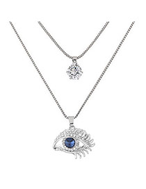 Sweet Silver Color Eye Shape Pendant Decorated Double Layer Necklace