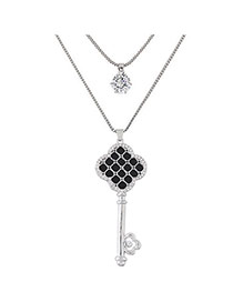 Sweet Silver Color Key Shape Pendant Decorated Double Layer Necklace