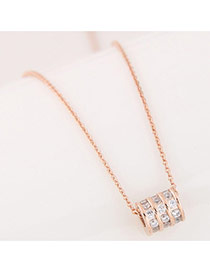 Sweet Rose Gold Diamond&round Pendant Decorated Simple Necklace