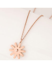 Sweet Rose Gold Sunflower Shape Decorated Simple Necklace