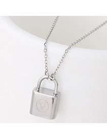 Exquisite Silver Color Lock Shape Pendant Decorated Simple Necklace