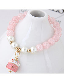 Sweet Light Pink Cat Shape Pendant Decorated Beads Bracelet