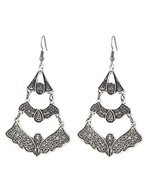 Fashion Silver Color Flower Pattern Decorated Hollow Out Multi-layer Earrings