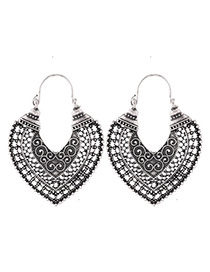 Fashion Silver Color Flower Pattern Decorated Hollow Out Heart Shape Design Simple Earrings