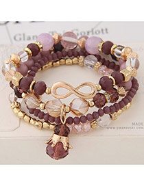 Fashion Multi-color Pearls&diamond Decorated Multi-layer Simple Bracelet