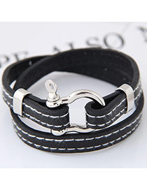 Fashion Black Buckle Decorated Double Layer Design Simple Bracelet