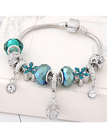 Fashion Blue Flower&beads Pendant Decorated Color Matching Bracelet