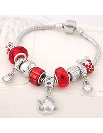 Fashion Red Flower&beads Pendant Decorated Color Matching Bracelet