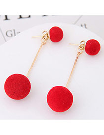 Sweet Red Double Fuzzy Balls Pendant Decorated Pure Color Simple Earrings