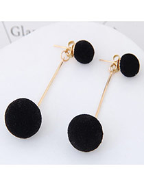 Sweet Black Double Fuzzy Balls Pendant Decorated Pure Color Simple Earrings
